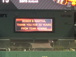 Thank you Roger Hewins and Martha Post for 20 Years of Service
